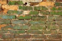 Alte verwitterte gemalte grüne Backsteinmauer-Beschaffenheit Lizenzfreie Stockfotos