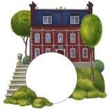 Alte Villa des roten Backsteins Zusammensetzung mit einem runden Rahmen vektor abbildung