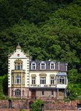 Historic old mansion on the bank of the river Neckar stock image