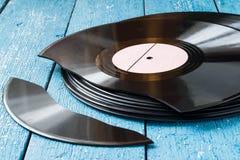 Alte Vinylsätze Stockfotos