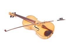 Alte Viola und ein Bogen Stockbilder