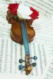 Alte Violine mit musikalischen Anmerkungen und stieg Lizenzfreies Stockfoto