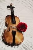 Alte Violine mit musikalischen Anmerkungen und stieg Stockfotografie