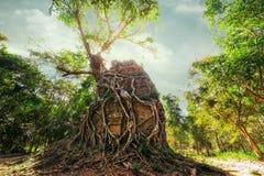 Alte vor Tempelruinen Angkor Sambor Prei Kuk kambodscha Lizenzfreies Stockbild