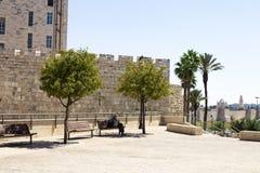 Alte Wände von Jerusalem nahe dem Jaffa-Tor Stockbilder