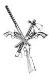 Alte Waffen vom wilden West, gezeichnet mit Tinte Stockbilder