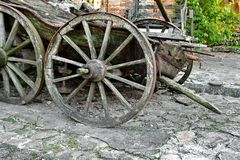 Alte Wagenrad-Nahaufnahme Lizenzfreies Stockfoto