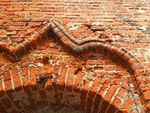 Alte Wand der roten Ziegelsteine Stockfotos