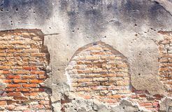 Alte Wand des roten Backsteins. Stockfoto