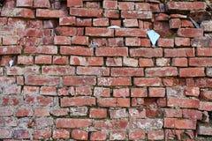 Alte Wand des roten Backsteins, Hintergrund, Beschaffenheit Stockbild