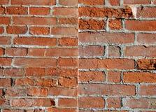 Alte Wand des roten Backsteins mit Mörser und einigen Sprüngen Stockbild