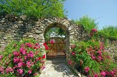 Alte Wand mit Blumen Stockfotos
