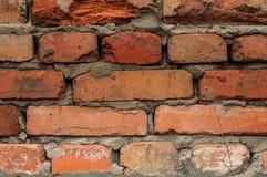 Alte Wand mit Nahaufnahme der roten Backsteine Stockbild