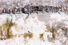 Alte Wand mit Ziegelsteinen und Beton Lizenzfreies Stockbild