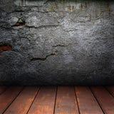 Alte Wand und hölzerner Fußboden Stockfoto