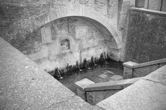 Alte Wanne mit Brunnen für das Waschen und die Bewässerung der Tiere Lizenzfreies Stockbild