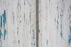 Alte weiße und blaue hölzerne Beschaffenheit Stockbilder