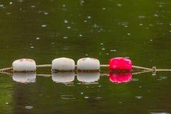 Alte weiße und rote Bojenseesperren, zum von Leuten zu schützen Stockfotos