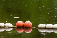 Alte weiße und rote Bojenseesperren, zum von Leuten zu schützen Lizenzfreies Stockfoto