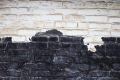 Alte weiße und schwarze Backsteinmauerbeschaffenheit für Hintergrund Lizenzfreie Stockbilder