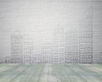Alte weiße Ziegelsteinwand mit Weinlesebretterboden und Gebäude doo Lizenzfreie Stockfotos