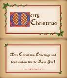 Alte Weihnachtskarte mit Feld, Glückwünsche. Stockfoto
