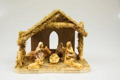 Alte Weihnachtskrippe lokalisiert auf weißem Hintergrund horizontal Stockfoto