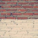 Alte Weinlese des Wandziegelstein-Hintergrundes Retro- Stockfoto