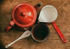 Alte Weinlese gemalte Draufsicht des Kaffeesatzes Stockfotografie