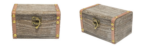 Alte Weinlese-geschlossener Kasten-hölzerne Kisten-Kasten-Isolierung auf Weiß, Geschenk Stockbilder