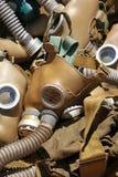 Alte Weinlese getragene RespiratorGasmasken nah oben Stockfoto