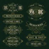 Alte Weinleseflorenelemente - Bänder, Monogramme, Streifen, Linien, Winkel, Grenze, Rahmen, Aufkleber, Logo vektor abbildung