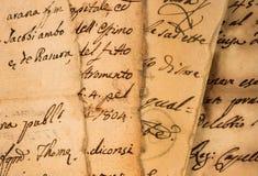 Alte Weinlesehandschriften Stockbild