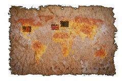 Alte Weinlesekarte auf gebranntem Papierhintergrund Stockbild