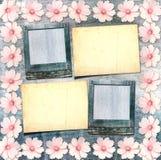 Alte Weinlesepostkarte mit schönen rosa Blumen Lizenzfreie Stockfotografie