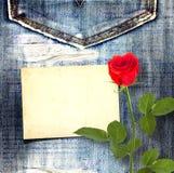 Alte Weinlesepostkarte mit schöner Rotrose Lizenzfreies Stockbild