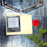 Alte Weinlesepostkarte mit schöner Rotrose Lizenzfreie Stockfotografie