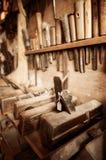 Alte Weinlesetischlerwerkzeuge Stockbilder
