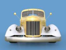 Alte wieder hergestellte Aufnahme Aufnahme im Stil des beheizten Stabes Abbildung 3D Golden-weißes Auto auf einem blauen Hintergr Lizenzfreie Stockbilder