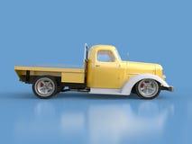 Alte wieder hergestellte Aufnahme Aufnahme im Stil des beheizten Stabes Abbildung 3D Golden-weißes Auto auf einem blauen Hintergr Stockfotografie