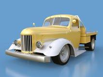 Alte wieder hergestellte Aufnahme Aufnahme im Stil des beheizten Stabes Abbildung 3D Golden-weißes Auto auf einem blauen Hintergr Lizenzfreies Stockfoto