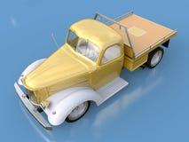 Alte wieder hergestellte Aufnahme Aufnahme im Stil des beheizten Stabes Abbildung 3D Golden-weißes Auto auf einem blauen Hintergr Stockbilder
