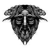 Alte Wikinger-Kopfillustration Stockbild