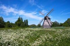 Alte Windmühle auf einer Wiese Lizenzfreie Stockbilder