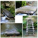 Alte Wodden-Brücke (trauen sich Sie?) Stockbilder