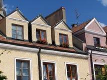 Alte Wohnungshäuser, Sandomierz, Polen Stockfotos
