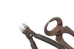 Alte Zangen und alte Werkzeuge ls lokalisiert auf einem weißen Hintergrund Stockfoto