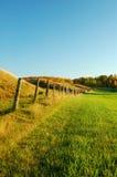 Alte Zaun-Reihe in einer Weide Stockbild