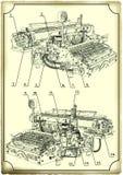 Alte Zeichnung der Schreibmaschine. lizenzfreies stockbild