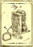 Alte Zeichnung des Telefons. stockbilder